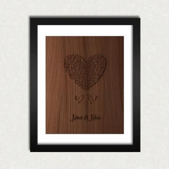 Any Personalized Digital Wood Engraved Print - Size 8x10 - Perfect Gift Idea